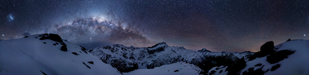 The milky way over Aoraki Mount Cook, New Zealand.