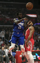 October 21, 2018 - Los Angeles, California, U.S - Patrick Beverley #21 of the Los Angeles Clippers passes the ball during their NBA game with the Houston Rockets on Sunday October 21, 2018 at the Staples Center in Los Angeles, California. (Credit Image: © Prensa Internacional via ZUMA Wire)