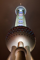 Oriental Pearl at night in Shanghai China