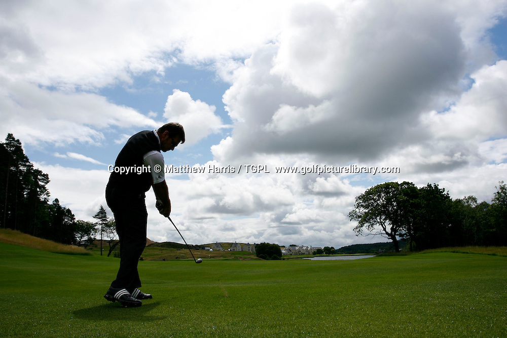 Nick FALDO (ENG) the 2008 European Ryder Cup captain out  playing second shot to the 16th par 5 Loch Erne Golf Resort, a course he has designed near Enniskillen, Co. Fermanagh, Northern Ireland.