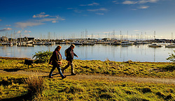 A man and a woman walk a dog at the marina at Pwllheli, North Wales, UK<br /> <br /> (c) Andrew Wilson | Edinburgh Elite media