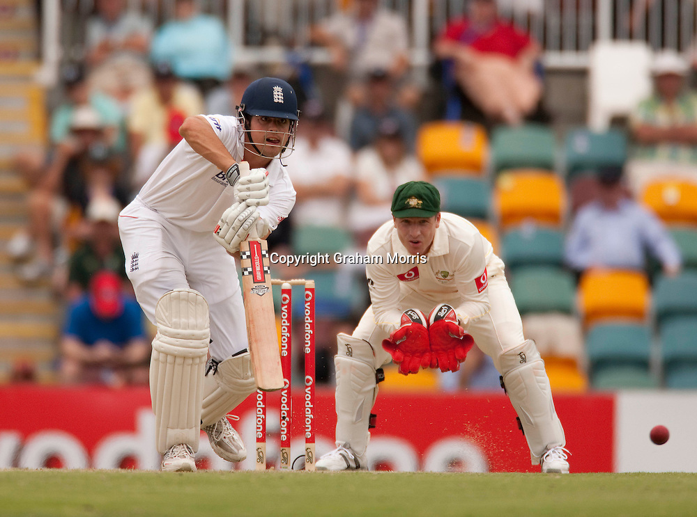 Alastair Cook off Xavier Doherty as wicket keeper Brad Haddin watches during the first Ashes Test Match between Australia and England at the Gabba, Brisbane. Photo: Graham Morris (Tel: +44(0)20 8969 4192 Email: sales@cricketpix.com) 25/11/10