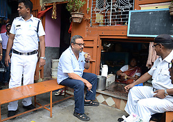 June 16, 2017 - Kolkata, India - Journalist Matthew Samuel , CEO of Narada News  had tea outside at  the Muchipara Police Station before interrogation in connection with money laundering scam in Kolkata , India on Friday, 16th June, 2017 . Mathew Samuel's questioning for second consecutive day  on his alleged connection with Bikram Singh, who is said to have made the extortion call to former Bihar Member of Parliament DP Yadav from a Kolkata lodge in Muchipara police station area. (Credit Image: © Sonali Pal Chaudhury/NurPhoto via ZUMA Press)
