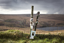 February 9, 2016 - Saddleworth Moor, Yorkshire, UK - Saddleworth Moor UK. File picture taken 09/02/2016 shows a memorial to 12 year old Keith Bennett on Saddleworth Moor. Keith Bennet was murdered by ''moors murderer'' Ian Brady who has died today at Ashworth Hospital. (Credit Image: © Andrew Mccaren/London News Pictures via ZUMA Wire)