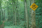 traffic sign in wooded area warning for a dip in road.
