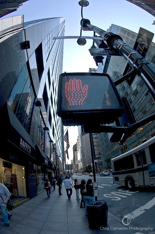 "Fisheye lens view of a pedestrian ""Do Not Cross"" hand signal on Madison Avenue, Manhattan, New York City."