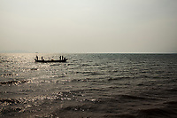 Crab fishermen in the afternoon in Kep, Cambodia.