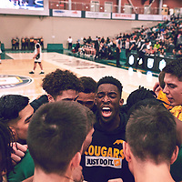2nd year guard, Nigel Warden (9) of the Regina Cougars during the Men's Basketball Home Game on Fri Feb 01 at Centre for Kinesiology,Health and Sport. Credit: Arthur Ward/Arthur Images