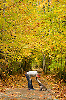 Greenways and walkways exist throughout the Comox Valley and Autumn is an especially beautiful time to hit the trails.  Courtenay, The Comox Valley, Vancouver Island, British Columbia, Canada.
