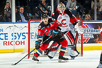 KELOWNA, BC - NOVEMBER 30:  Leif Mattson #28 of the Kelowna Rockets awaits the pass ahead of the net of Taylor Gauthier #35 of the Prince George Cougars during first period at Prospera Place on November 30, 2019 in Kelowna, Canada. (Photo by Marissa Baecker/Shoot the Breeze)