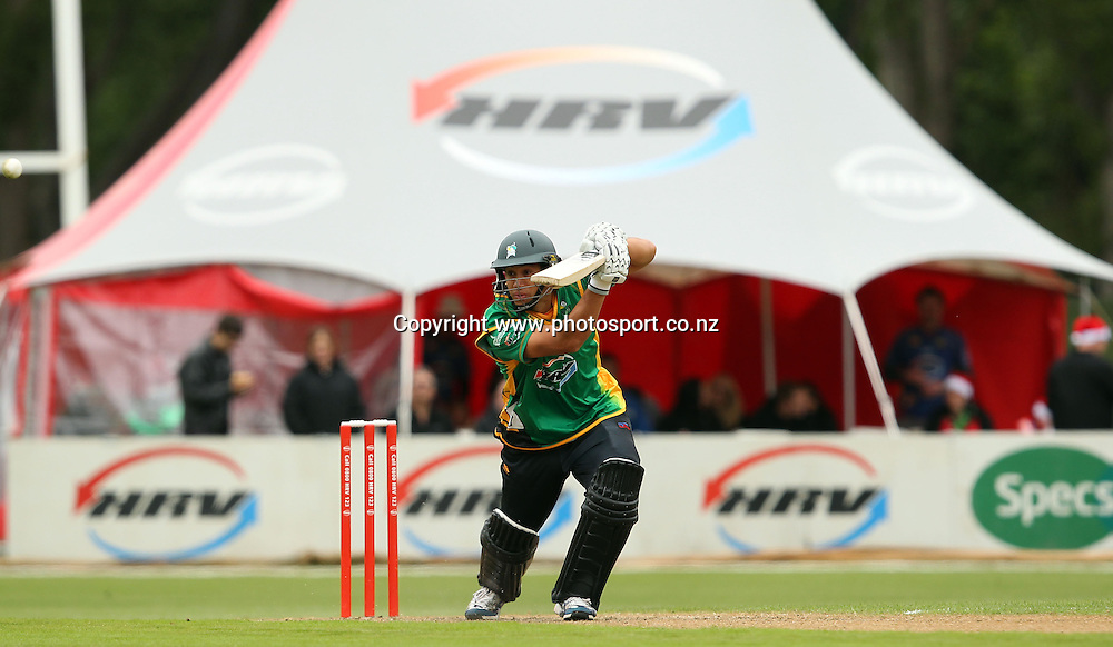 Ross Taylor shows his style on his way to scoring 95 for the Stags.<br /> Twenty20 Cricket - HRV Cup, Otago Volts v Central Stags, 18 December 2011, University Oval, Dunedin, New Zealand.<br /> Photo: Rob Jefferies/PHOTOSPORT