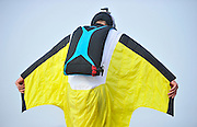 ZHANGJIAJIE, CHINA - OCTOBER 14: (CHINA OUT) <br /> <br /> Wingsuit Flying World Championship <br /> <br /> Participant flies on the sky with wingsuit during the 6-day Wingsuit Flying World Championship sponsored by Red Bull on October 14, 2014 in Zhangjiajie, Hunan province of China. <br /> ©Exclusivepix