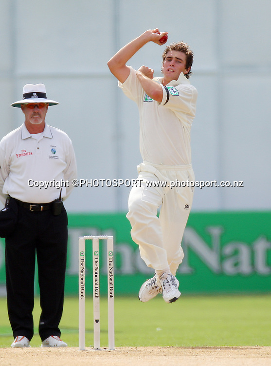 New Zealand bowler Tim Southee in action.<br />National Bank Test Match Series, New Zealand v England,  3rd Test at McLean Park Napier, New Zealand. Day 1, Saturday 22 March 2008. Photo: Andrew Cornaga/PHOTOSPORT