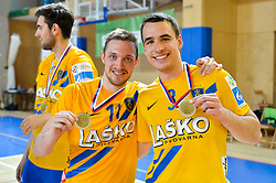 Marguc Gal of RK Celje Pivovarna Lasko and Jurecic Jan of RK Celje Pivovarna Lasko during handball match between RK Krka and RK Celje Pivovarna Lasko in the Final of Slovenian Men Handball Cup 2018, on April 22, 2018 in Sportna dvorana Ljutomer , Ljutomer, Slovenia. Photo by Mario Horvat / Sportida