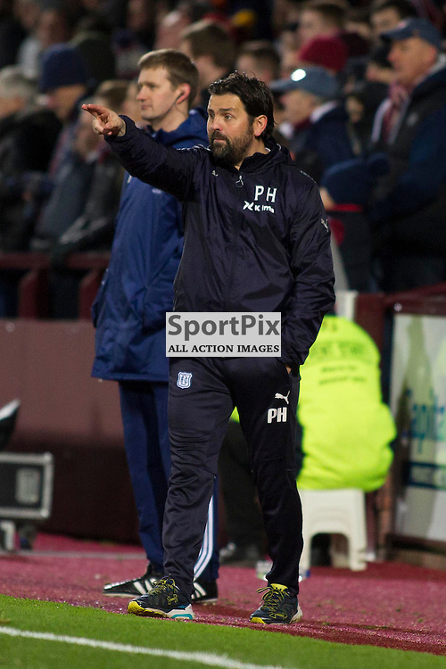 Dundee manager Paul Hartley during the Ladbrokes Scottish Premiership match between Heart of Midlothian FC and Dundee FC at Tynecastle Stadium on November 21, 2015 in Edinburgh, Scotland. Photo by Jonathan Faulds/SportPix