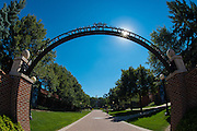 An overhead sign welcomes students and other guests to St. Norbert College in De Pere, Wis. (Sam Lucero photo)