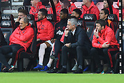 Manchester United manager Jose Mourinho looks nervous as he sits in the dug out during the Premier League match between Bournemouth and Manchester United at the Vitality Stadium, Bournemouth, England on 3 November 2018.