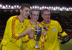 Manchester, England - Thursday, April 26, 2007: Liverpool's Steven Irwin, Craig Lindfield and Lee Woodward celebrates with the trophy after beating Manchester United on penalties to win the FA Youth Cup for the second successive year during the FA Youth Cup Final 2nd Leg at Old Trafford. (Pic by David Rawcliffe/Propaganda)