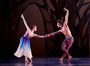 The Birmingham Royal Ballet <br /> Three Short Story Ballets (mixed Bill) <br /> at Birmingham Hippodrome, Birmingham, Great Britain <br /> Rehearsal 21st June 2017 <br /> <br /> <br /> Arcadia <br /> (word Premier)<br /> Choreography by Ruth Brill<br /> Music:John HarleDesigns:Atena AmeriLighting:Peter Teigen<br /> <br /> CastPan: Tyrone Singleton <br /> <br /> <br /> Selene: <br /> Delia Mathews<br /> <br /> <br /> Photograph by Elliott Franks <br /> Image licensed to Elliott Franks Photography Services