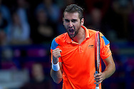 Marin Cilic of Croatia competes at first single match during the BNP Paribas Davis Cup 2014 between Poland and Croatia at Torwar Hall in Warsaw on April 4, 2014.<br /> <br /> Poland, Warsaw, April 4, 2014<br /> <br /> Picture also available in RAW (NEF) or TIFF format on special request.<br /> <br /> For editorial use only. Any commercial or promotional use requires permission.<br /> <br /> Mandatory credit:<br /> Photo by © Adam Nurkiewicz / Mediasport