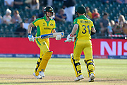 Steve Smith of Australia and David Warner of Australia batting together during the ICC Cricket World Cup 2019 match between Afghanistan and Australia at the Bristol County Ground, Bristol, United Kingdom on 1 June 2019.