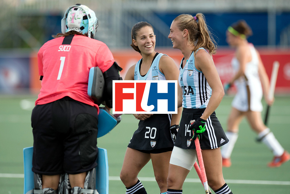 AUCKLAND - Sentinel Hockey World League final women<br /> Match id: 10307<br /> 17 ARG v GER (Losing Q/Finalis<br /> Foto: Belen Succi (C,Gk), Lucina Von Der Heyde and Agustina Habif <br /> WORLDSPORTPICS COPYRIGHT FRANK UIJLENBROEK