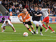 Nicky Riley rounds Gavin Reidford - Stirling Albion v Dundee, IRN BRU Scottish League 1st Division, Forthbank Stadium, Stirling<br /> <br />  - © David Young<br /> ---<br /> email: david@davidyoungphoto.co.uk<br /> http://www.davidyoungphoto.co.uk