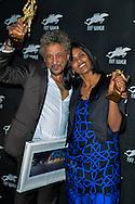 """Abel Jafri et Toulou Kiki photocall avec le bayard d'or reçu pour le film """"Timbuktu"""" lors de la soirée de remise des bayards lors de la  29eme édition du Festival du Film Francophone, Namur le 03 octobre 2014 Belgique"""