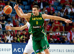 Linas Kleiza of Lithuania during the third-place basketball match between National teams of Serbia and Lithuania at 2010 FIBA World Championships on September 12, 2010 at the Sinan Erdem Dome in Istanbul, Turkey. Lithuania defeated Serbia 99 - 88 and win placed third.  (Photo By Vid Ponikvar / Sportida.com)
