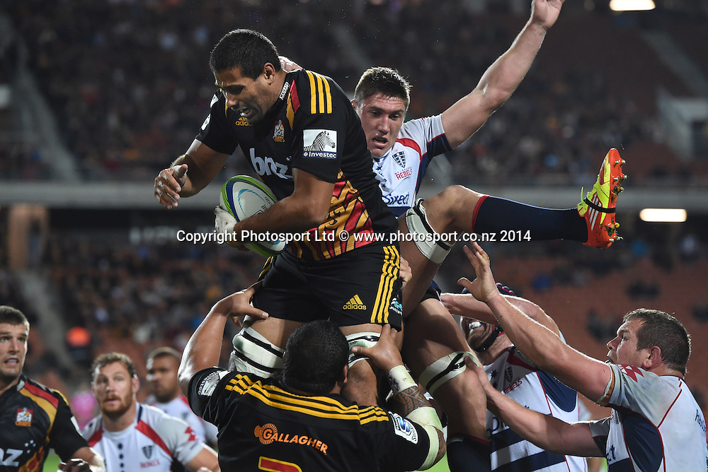 Ross Filipo. Chiefs v Rebels. Super Rugby. Waikato Stadium, Hamilton, New Zealand on Saturday 12 April 2014. Photo: Andrew Cornaga/www.Photosport.co.nz