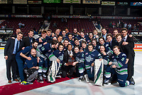 KELOWNA, CANADA - APRIL 30: The against the Seattle Thunderbirds celebrate the Western Conference Championship on the ice at the Kelowna Rockets after winning Game 6 to end the series 4-2 on April 30, 2017 at Prospera Place in Kelowna, British Columbia, Canada.  (Photo by Marissa Baecker/Shoot the Breeze)  *** Local Caption ***