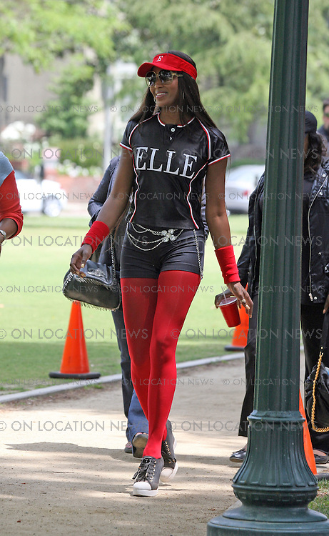 LOS ANGELES, CALIFORNIA - WENESDAY 30th APRIL 2008. NON EXCLUSIVE: Super Model Naomi Campbell guest stars in the ABC hit TV show 'Ugly Betty'. Campbell joined Ugly Betty cast members America Ferrera, Vanessa Williams, Rebecca Romijn, Judith Light, Christopher Gorham, Eric Mabius and others to film a softball game scene. cast members America Ferrera, Vanessa Williams, Rebecca Romijn, Judith Light, Christopher Gorham, Eric Mabius and others to film a softball game scene. In this episode Ugly Betty's Mode Magazine had a softball compitition with Elle Magazine. The Elle magazine team was all models which included Naomi Campbell. Mode magazine was beaten by Elle magazine. In part of the scene, Naomi Campbell hit a ball high into the air and Ugly Betty collided with her team mates trying to catch the ball in the outfield. Naomi Campbell behaved well and was very professional on set. She seemed to be having lots of fun while filming and during filming breaks. Naomi was seen enjoying a big meal during lunch break. Photograph: On Location News. Sales: Eric Ford 1/818-613-3955 info@OnLocationNews.com Photographer Code: ECF