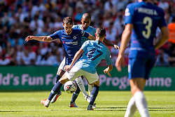 August 5, 2018 - Jorginho of Chelsea challenges the ball with Phil Foden of Manchester City during the 2018 FA Community Shield match between Chelsea and Manchester City at Wembley Stadium, London, England on 5 August 2018. (Credit Image: © AFP7 via ZUMA Wire)