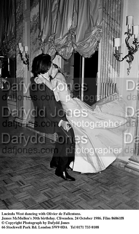 Lucinda West dancing with Olivier de Fallentons. James McMullen's 30th birthday. Clivenden. 24 October 1986. Film 86861f8<br />