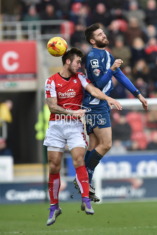 Rotherham United defender (and former Brighton player) Joe Mattock and Jon Toral of Birmingham city  go for the ball  during the Sky Bet Championship match between Rotherham United and Birmingham City at the New York Stadium, Rotherham, England on 13 February 2016. Photo by Ian Lyall.