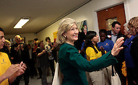SAN ANTONIO, TX - FEBRUARY 08:  The Senator waves goodbye to a group  of middle schoolers at a campaign stop at KIPP Aspire Academy... Senior Senator and candidate for Texas governor, Kay Bailey Hutchison,  campaigns through Texas in a close race against Governor Rick Perry for the republican nomination, February 08, 2010 in Dallas, Texas. (Photo by Melina Mara/The Washington Post)..