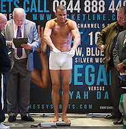 Picture by Alan Stanford/Focus Images Ltd +44 7915 056117<br /> 15/11/2013<br /> Chris Eubanks jnr weigh in at Glow Bluewater, Greenhithe.