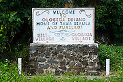 Village sign on Ofu Island, Manu´a island group, American Samoa, South Pacific
