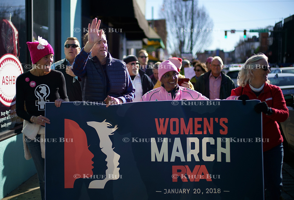 Virginia Gov. Ralph Northam (D) walks in support of the Women's March Saturday, January 20, 2018, in Richmond, VA.<br /> <br /> Photo by Khue Bui
