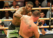 Picture by Alan Stanford/Focus Images Ltd +44 7915 056117<br /> 14/11/2013<br /> Michael Sprott (Black shorts) and Jason Gavern during their heavyweight prize fighter final  contest at York Hall, Bethnal Green.