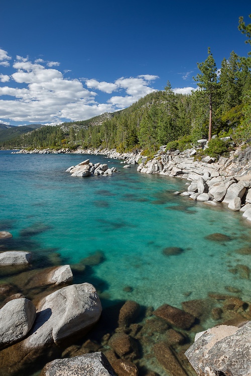 """Boulders at Lake Tahoe 40"" - These boulders and emerald waters were photographed along the East shore of Lake Tahoe, just North of Sand Harbor."