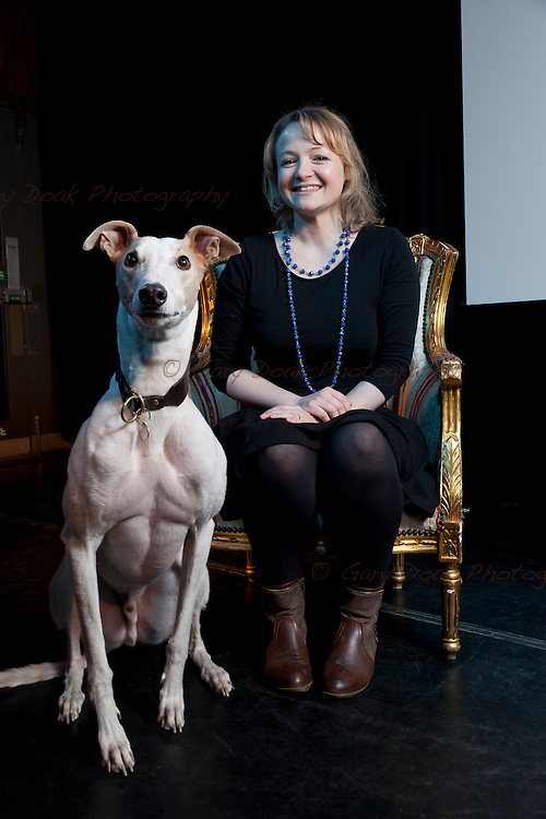 Lucy Ribchester, author and short story writer with her greyhound, Buster, at the Summerhall Historical Fiction Festival 2015. Edinburgh, Scotland.<br /> 26 April 2015<br /> <br /> Photograph by Gary Doak/Writer Pictures<br /> <br /> WORLD RIGHTS