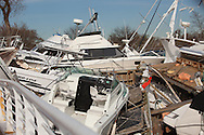 Boats washed up on Staten Island by superstorm Sandy's surge.