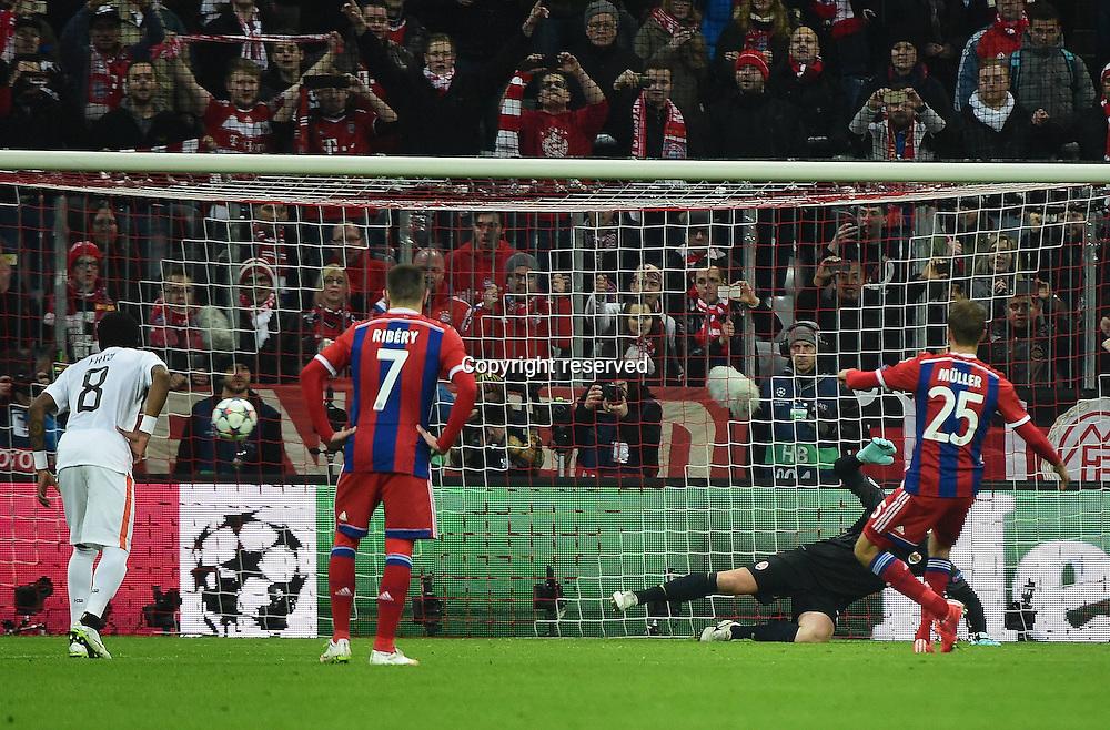 11.03.2015. Allianz Stadium, Munich, Germany. UEFA Champions League football. Bayern Munich versus Shakhtar Donetsk. . Andriy Pyatov (Shakhtar Donetsk) is beaten by Thomas Mueller (FC Bayern Muenchen) for 1:0