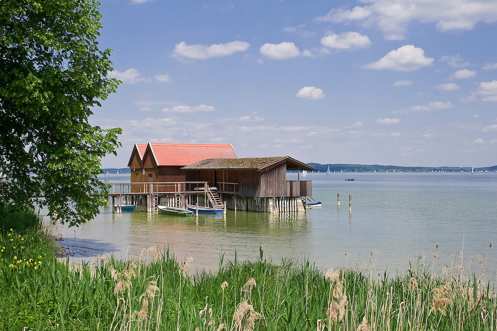Fishing huts on Starnberger See, Bavaria, Germany