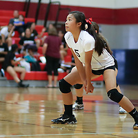 (Photograph by Bill Gerth for SVCN) Westmont #5 Melissa Lam vs Piedmont Hills in a BVAL Girls Volleyball Game at Westmont High School, Campbell CA on 9/29/16.  (Piedmont Hills wins 3-0, 25-13, 25-14, 25-20)
