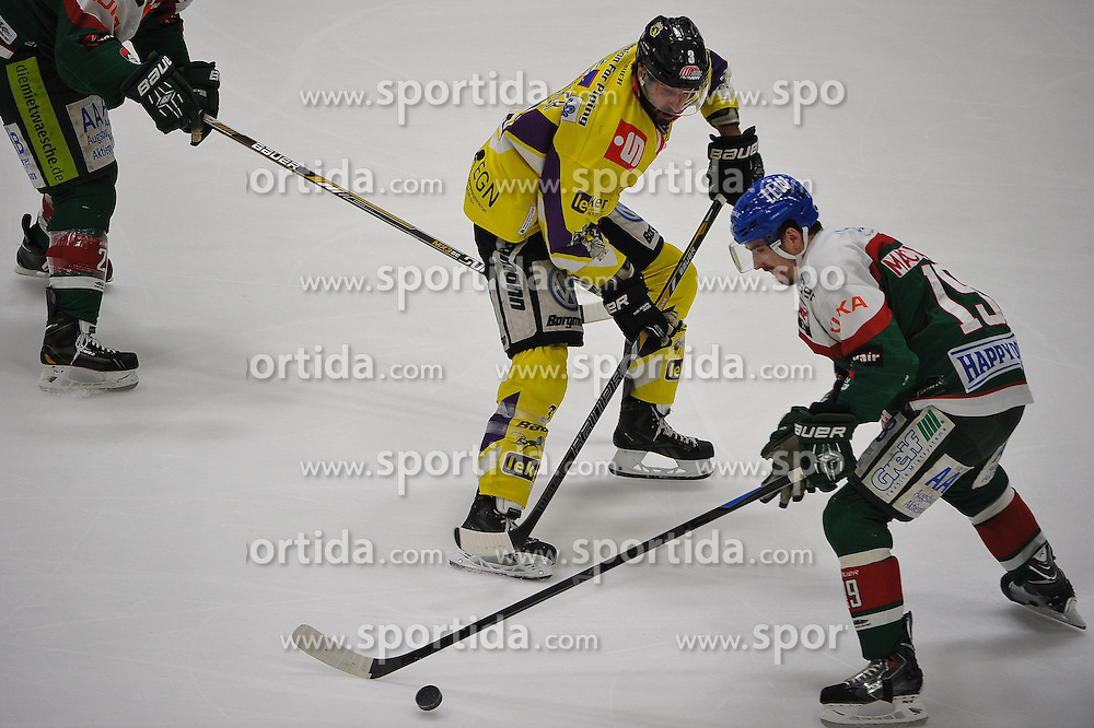 27.02.2015, Curt-Fenzel-Stadion, Augsburg, GER, DEL, Augsburger Panther vs Krefeld Pinguine, 51. Runde, im Bild im Zweikampf, Aktion, mit von links David Fischer (Krefeld Pinguine) 3 links gegen Spencer Machacek (Augsburger Panther) 19 // during Germans DEL Icehockey League 51st round match between Augsburger Panther and Krefeld Pinguineg at the Curt-Fenzel-Stadion in Augsburg, Germany on 2015/02/27. EXPA Pictures &copy; 2015, PhotoCredit: EXPA/ Eibner-Pressefoto/ Schreyer<br /> <br /> *****ATTENTION - OUT of GER*****