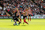 Jack O'Connell of Sheffield United has a shot on goal during the Premier League match between Sheffield United and Crystal Palace at Bramall Lane, Sheffield, England on 18 August 2019.