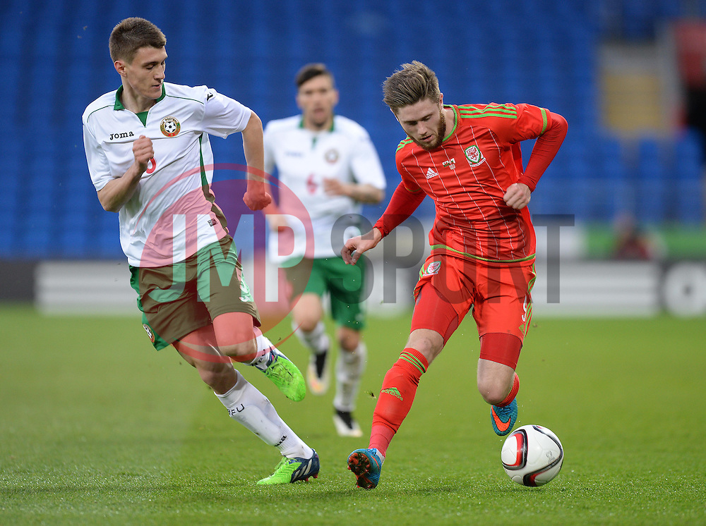 Wes Burns of Wales u21s (Bristol City) in action. - Photo mandatory by-line: Alex James/JMP - Mobile: 07966 386802 - 31/03/2015 - SPORT - Football - Cardiff - Cardiff City Stadium - Wales v Bulgaria - U21s International Friendly