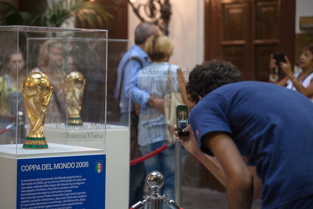 Le quattro Coppe del Mondo vinte dalla Nazionale di calcio - su iniziativa della FIGC -sono state esposte a Palazzo delle Aquile, sede del Consiglio Comunale di Palermo.